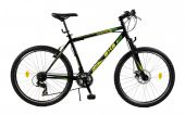 Bicicleta Mountain Bike Hardtail DHS Terrana 2623 - model 2015 26''-Negru-Galben-485 mm